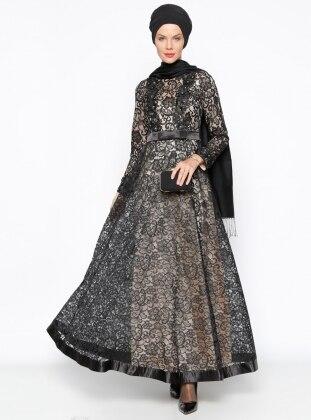 Dantelli Abiye Elbise - Siyah Bej