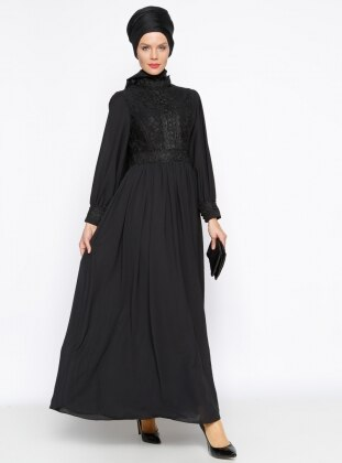 Güpür Detaylı Abiye Elbise - Siyah Modaysa