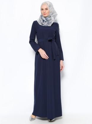 Kuşaklı Elbise - Lacivert Elit Butik
