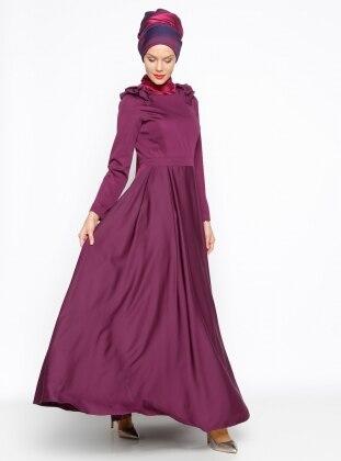 Omuz Detaylı Abiye Elbise - Mürdüm