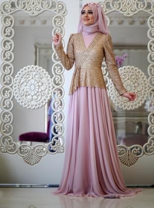 Sim Abiye Elbise - Pudra Minel Aşk