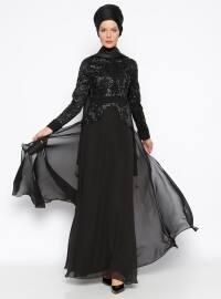 Dantelli Abiye Elbise - Siyah - MODAYSA