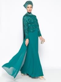 Dantelli Abiye Elbise - Yeşil - MODAYSA