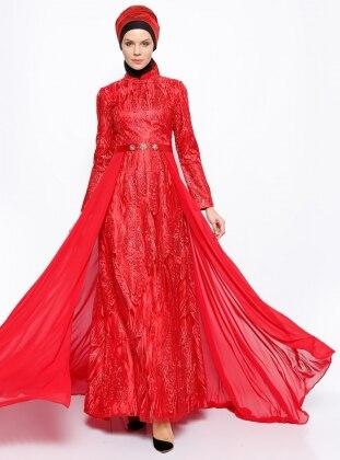 Dantelli Abiye Elbise - Kırmızı