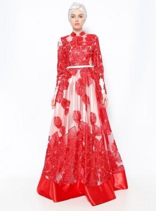 Dantelli Abiye Elbise - Kırmızı Ekru