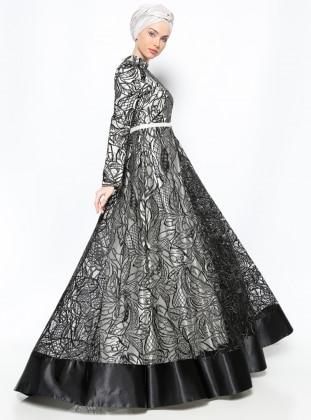 Asbella Dantelli Abiye Elbise - Siyah Ekru