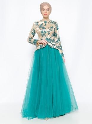 Dantelli Abiye Elbise- Yeşil Gold Asbella