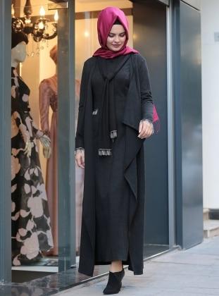 Defne Elbise&Hırka Takım - Siyah