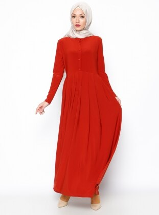 Gizli Fermuar Detaylı Elbise - Kiremit Bislife