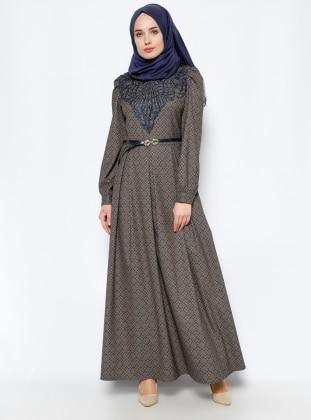 BÜRÜN Güpür Detaylı Elbise - Vizon