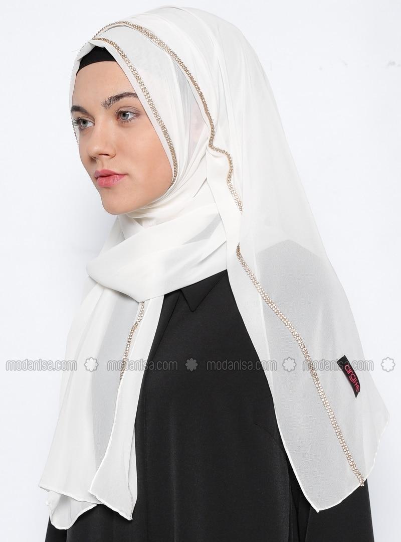 Shawl - White -  Eşarp