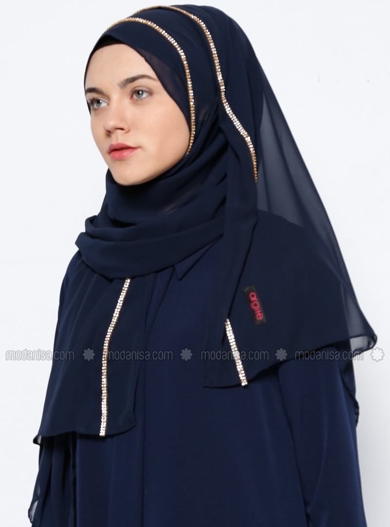 Shawl - Navy Blue -  Eşarp