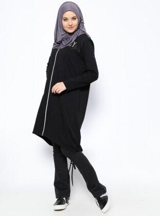 Fermuarlı Hırka - Siyah