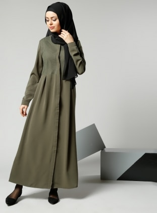 File Detaylı Elbise - Haki