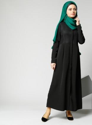 File Detaylı Elbise - Siyah