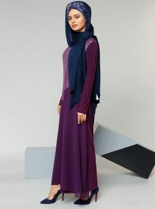 Garnili Elbise - Mürdüm