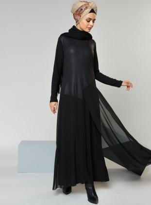 Garnili Elbise - Siyah