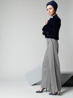 Kazayağı Desenli Pantolon - Lacivert
