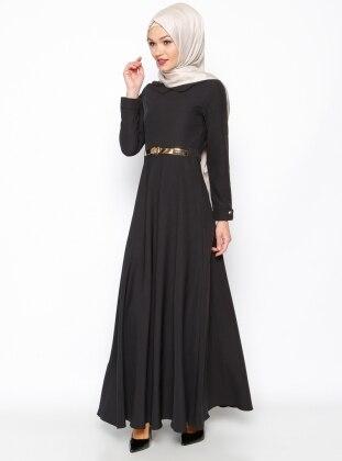 Kemerli Elbise - Siyah Bislife
