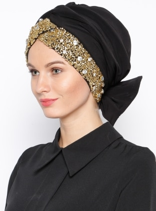 Black - Gold - Plain - Pinless - Instant Scarf