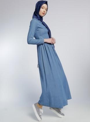 Naturel Kumaş Kot Elbise - Mavi