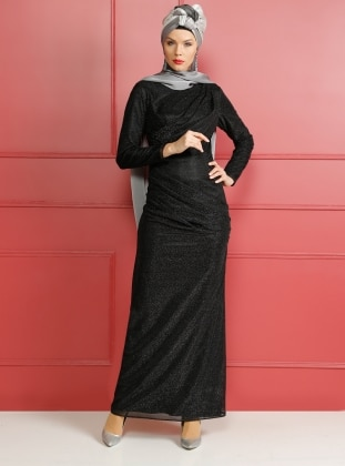 Black - Full Lined - Crew neck - Muslim Evening Dress