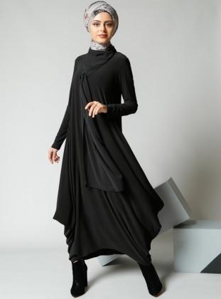 Şifon Parçalı Elbise - Siyah