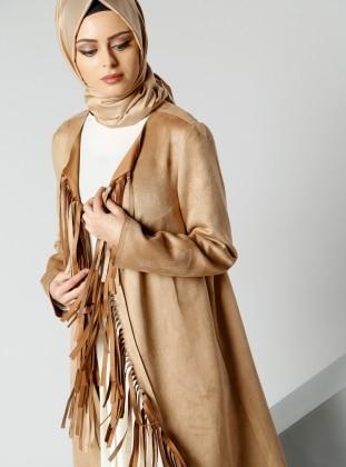 Süet Püsküllü Ceket - Camel