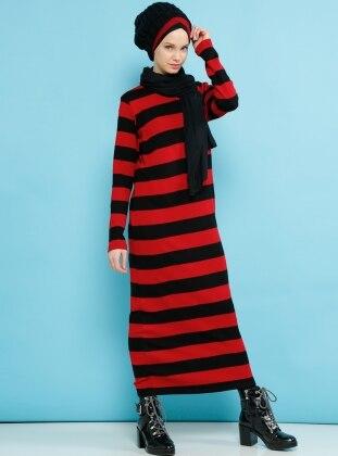 Çizgili Triko Elbise - Siyah Kırmızı Benin