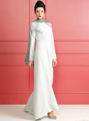 Zincir Detaylı Abiye Elbise - Gri