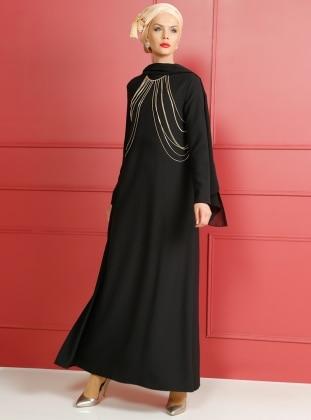 Zincir Detaylı Abiye Elbise - Siyah