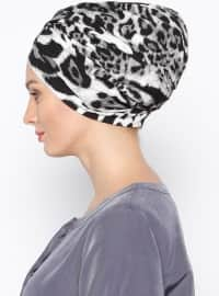 Cotton - Printed - Leopard - Black - Combed Cotton - Instant Scarf