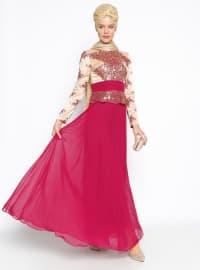 Güpür Detaylı Abiye Elbise - Mürdüm - MODAYSA