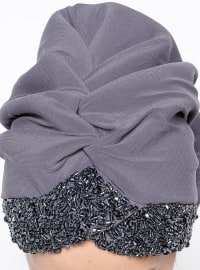 Gray - Plain - Pinless - Instant Scarf