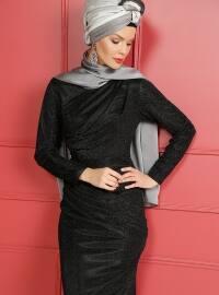Black - Full Lined - Crew neck - Muslim Evening Dress