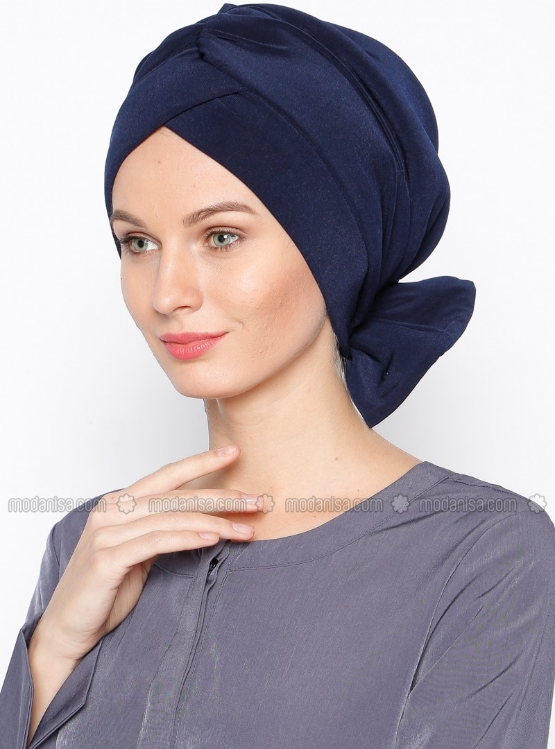 Pinless - Plain - Navy Blue - Instant Scarf