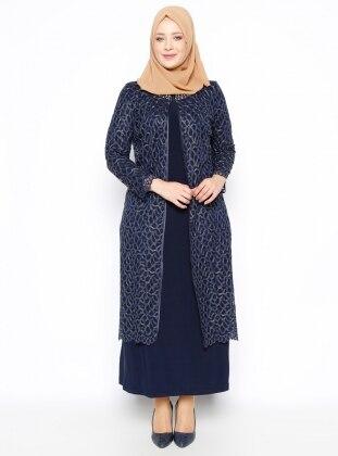 2`li Abiye Elbise Takım - Lacivert