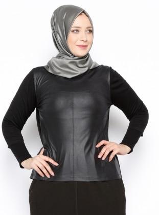 Arkası Fermuar Detaylı Bluz - Siyah Arıkan