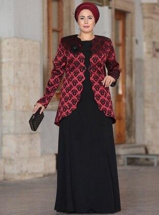 Nesrin Emniyetli Bera Abiye Ceket&Elbise İkili Takım - Bordo