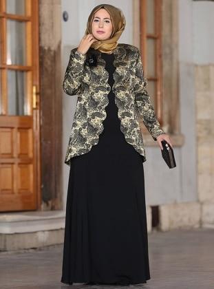 Bera Abiye Ceket&Elbise İkili Takım - Gold Nesrin Emniyetli