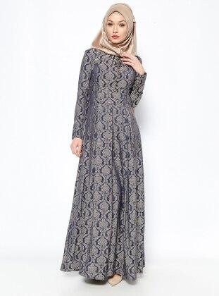 Brit Detaylı Abiye Elbise - Lacivert - DMN PLUS