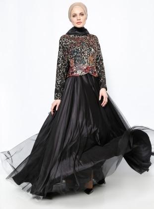 Brit Detaylı Abiye Elbise - Siyah - DMN PLUS