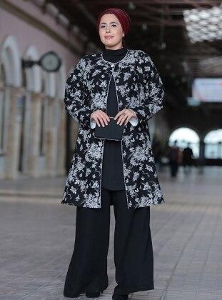 Ceket&Pantolon İkili Takım - Siyah Beyaz Nesrin Emniyetli