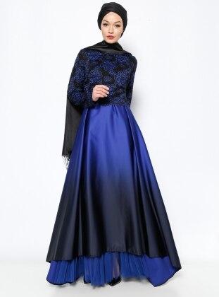 Dantel Detaylı Abiye Elbise - Saks - DMN PLUS