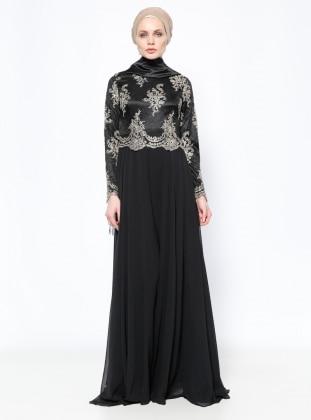 Dantelli Abiye Elbise - Siyah - DMN PLUS