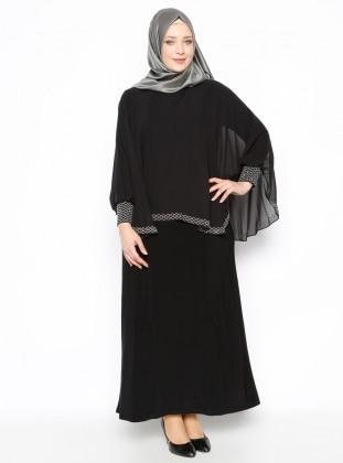 Drop Baskılı Abiye Elbise - Siyah