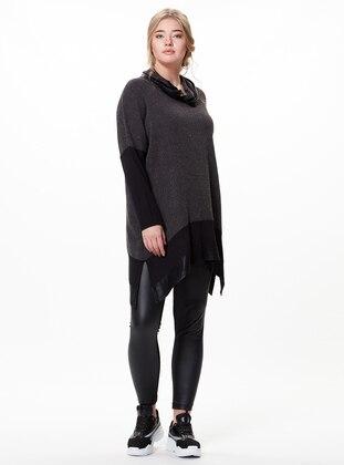 Gray - Polo neck - Plus Size Tunic