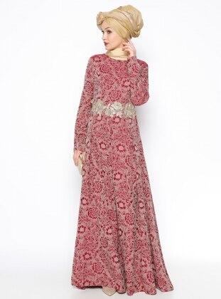 Güpür Detaylı Abiye Elbise - Bordo - DMN PLUS