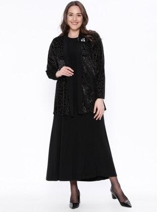 hırka&elbise ikili abiye takım - siyah - arıkan