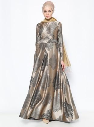 İncili Abiye Elbise - Gold - DMN PLUS